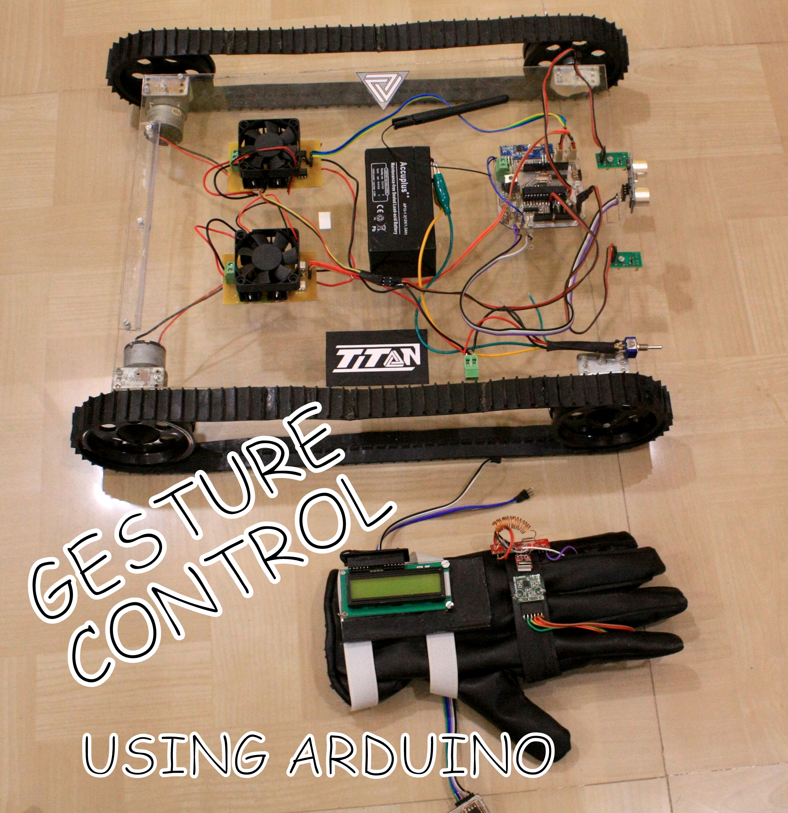 Picture of GESTURE Controlled Arduino Based Rover ( Wireless + Line Following )