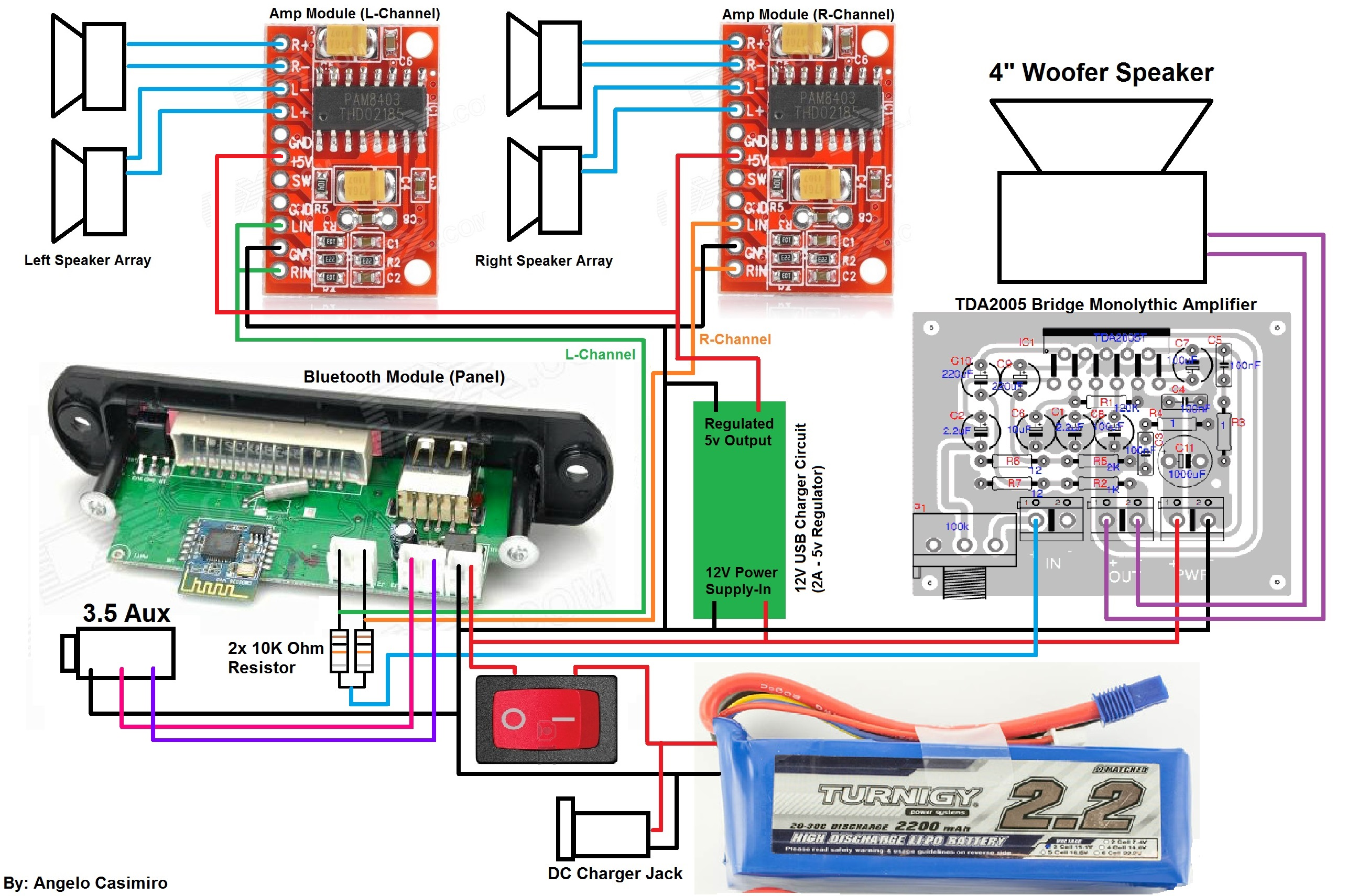diy tough bluetooth boombox lasts 20hrs 12 steps with pictures rh instructables com 4 Ohm Speaker Wiring Diagram Crutchfield Speaker Wiring Diagram