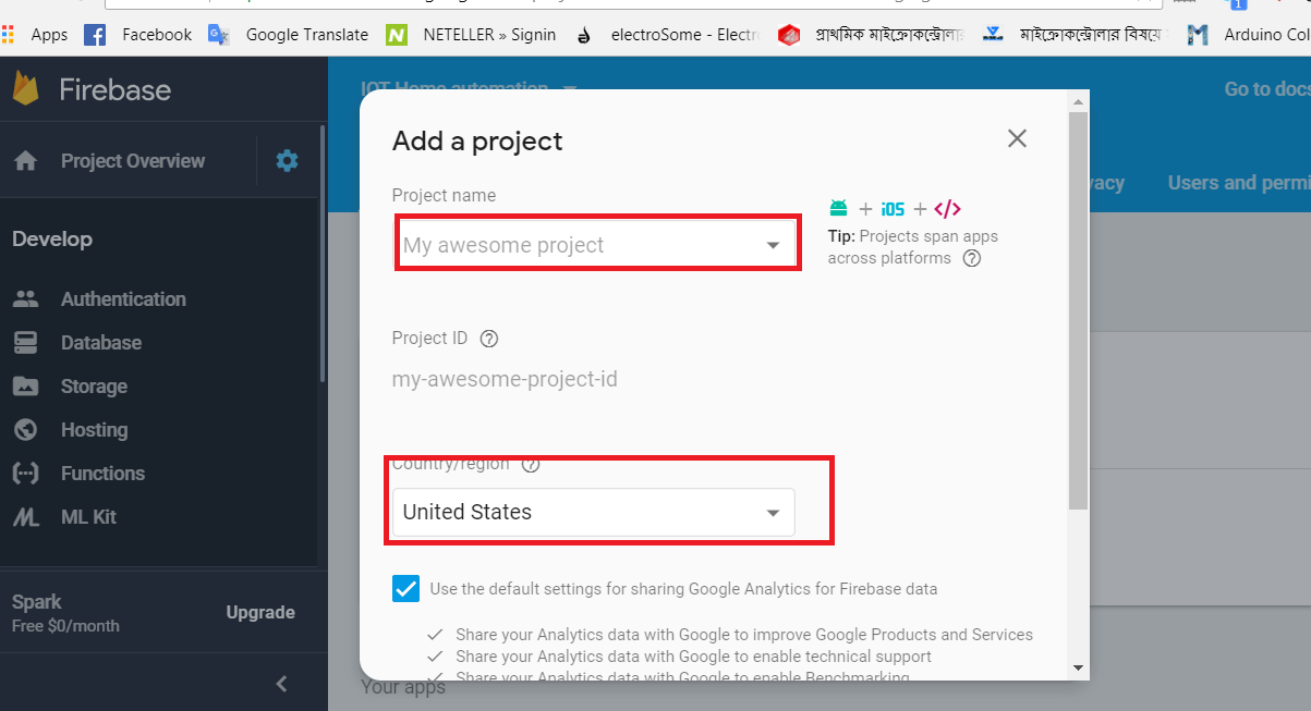 Picture of Then Show Like This Interface and Give Project Name and Select Country Name