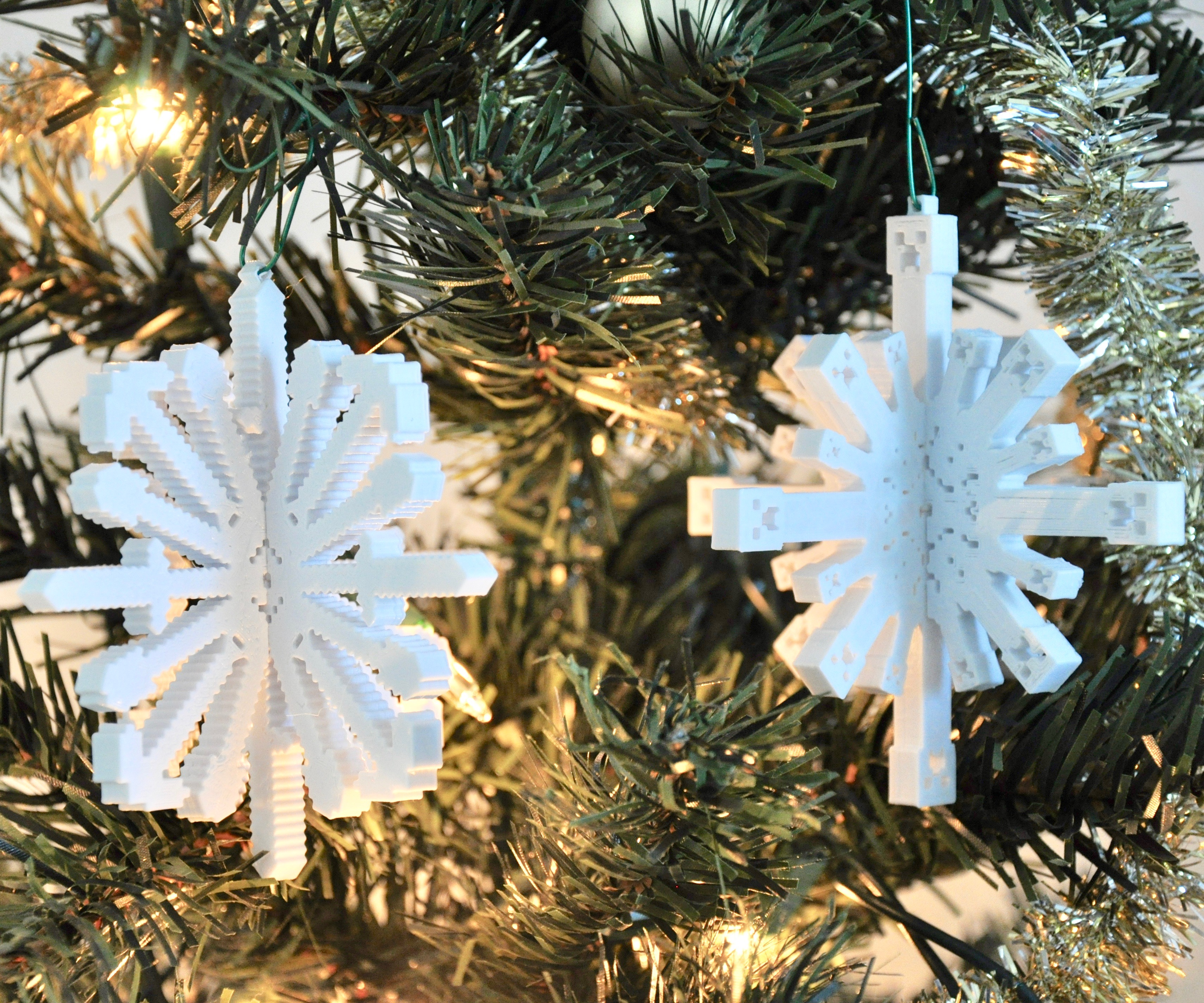 Picture of 3D Printed Minecraft Snowflake Ornaments