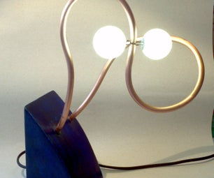 Ping Pong Lamp From Reclaimed Wood and Copper Tube Without Wires