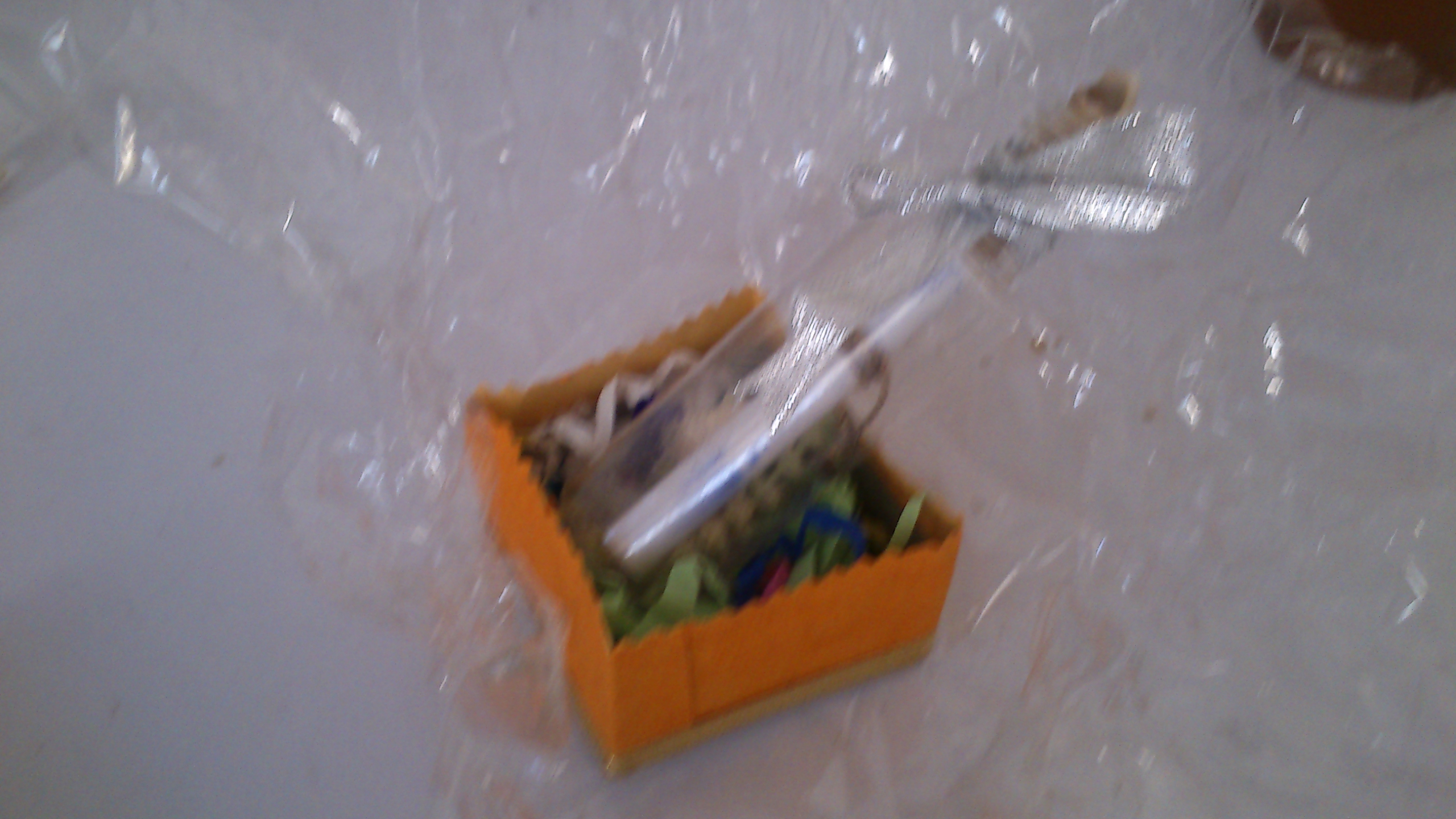 Picture of Place the Bottle in the Outer Box With Colored Papers Filled Inside As Per Step 1.
