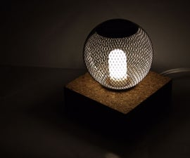 Entry Lamp with Cork Base & Mesh Sphere Shade