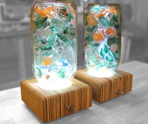 Upcycled Glass Lamps With Mason Jar