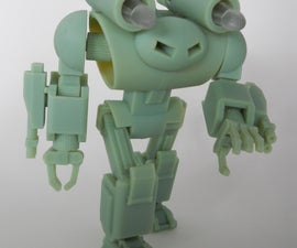 123D Design Fully Articulated Battle Robot Action Figure