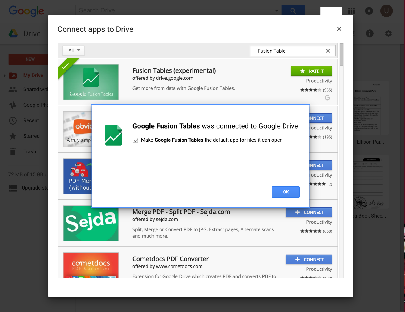 Picture of Connect Google Fusion Tables to Your Google Drive