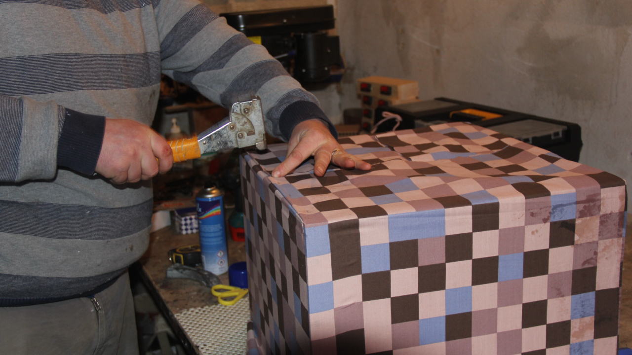 Picture of Attaching the Material to the Box.