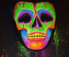 Pop out rainbow skull painting