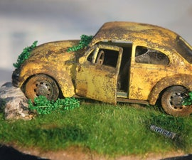 Abandoned VW Beetle Mini Diorama