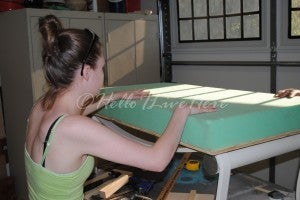 Adhere Foam Cushion and Fabric Backing to the Table Frame Bench Top