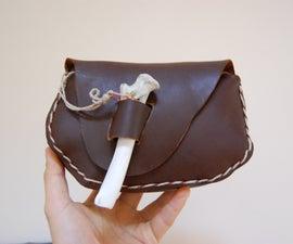 Clutch purse / Leather Naruto Ninja Bag (ninja purse with bone closure)