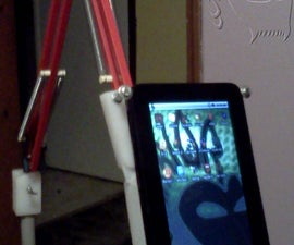 "Zero gravity tablet or ereader floor stand from balanced arm lamp """"""Sugru Update"""""""