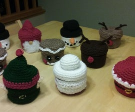 Crocheted Candy Jar Covers (Christmas Themed)