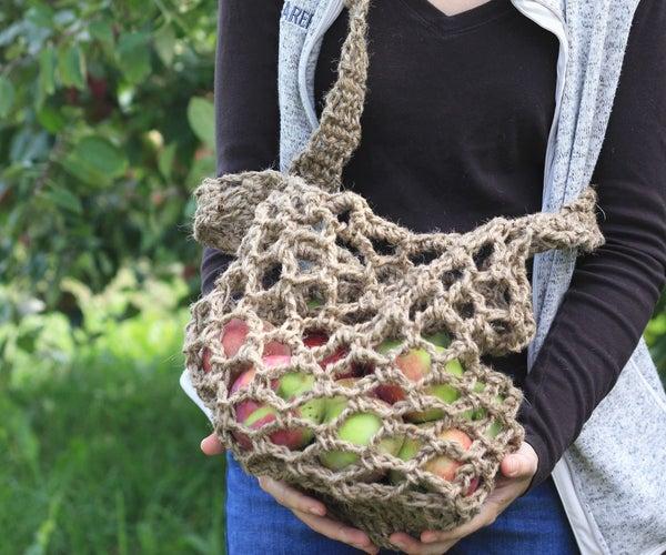 Rustic Crochet Apple Bag