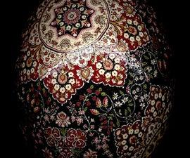 Kerman Stars Ostrich Pysanky Batik Easter Egg