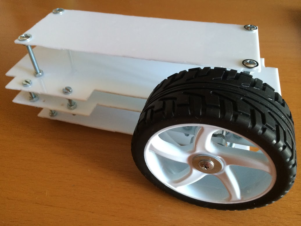 Picture of Mounting All Layers and Testing Wheels and Motors