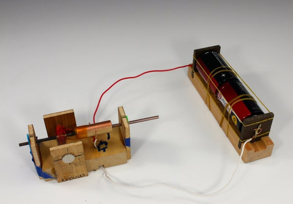 HomeMade DC Electric Motor and D Cell Battery Holder