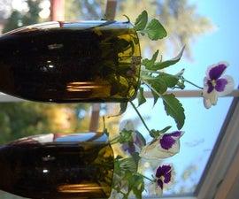 Hanging Upcycled Wine Bottle Planter Shelves