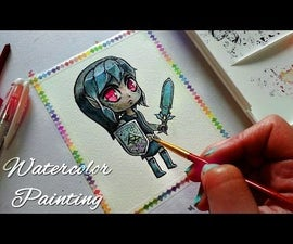 Dark Link - Chibi Version - Watercolor Illustration Painting Process