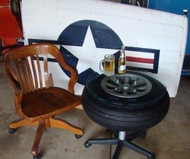 Table made from a 1940s airplane wheel