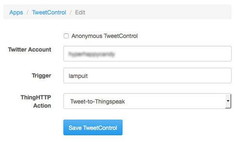 Set Up ThingSpeak Apps - TweetControl