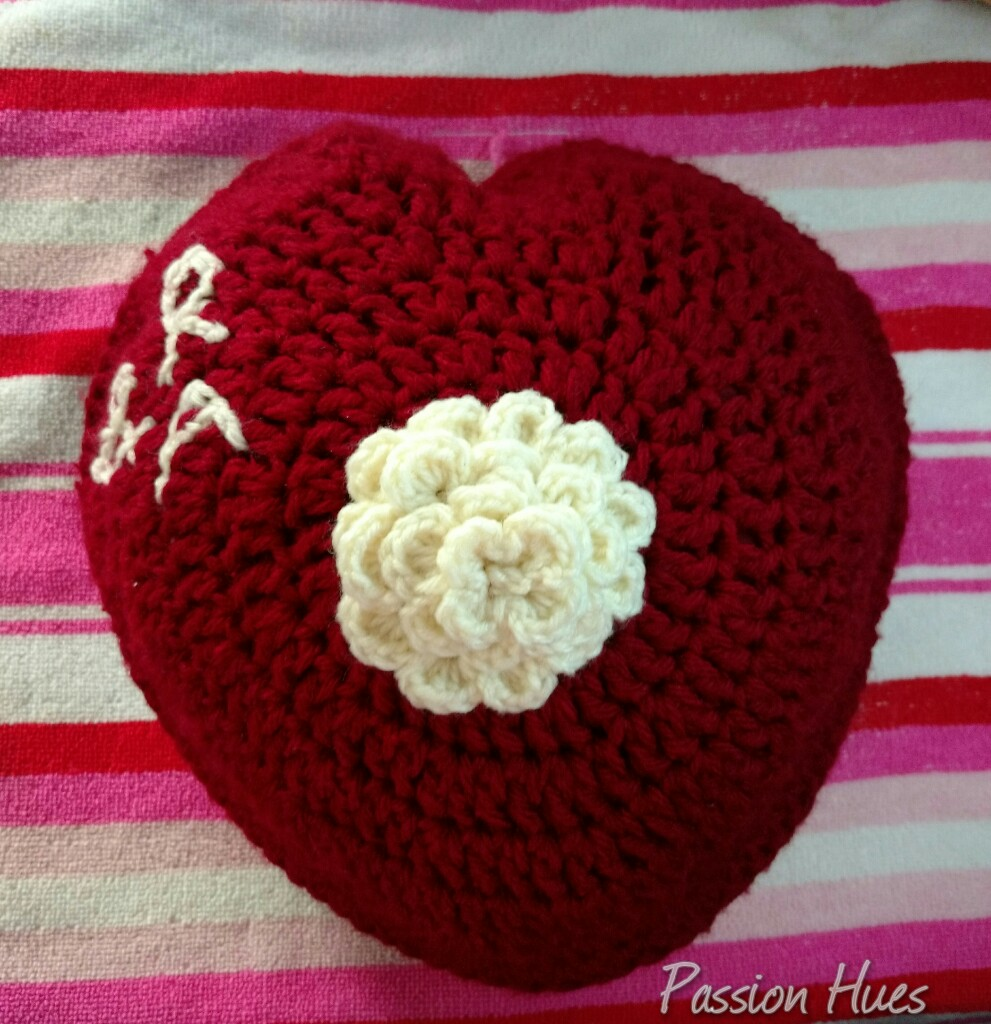 Picture of Personalised Heart Crochet Cushion
