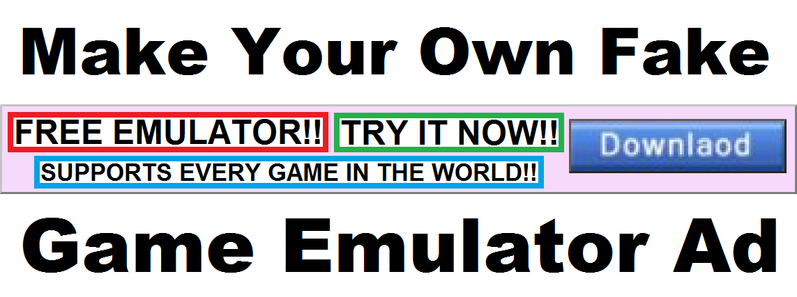 Picture of Make Your Own Fake Game Emulator Ad