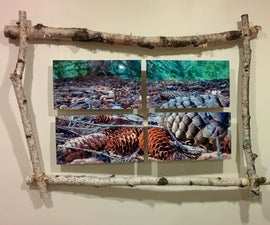 Birch frame with floating photos