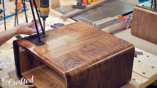 Install Drawer Pulls & Hairpin Legs
