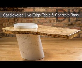 Cantilevered Live Edge Table With Concrete Post Base