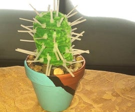 Faux Cactus W/ Zip Tie Thorns