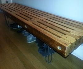 Salvaged Heart Pine Bench