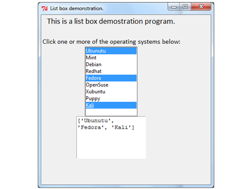 Picture of Python Programming GUI - Listbox Demo