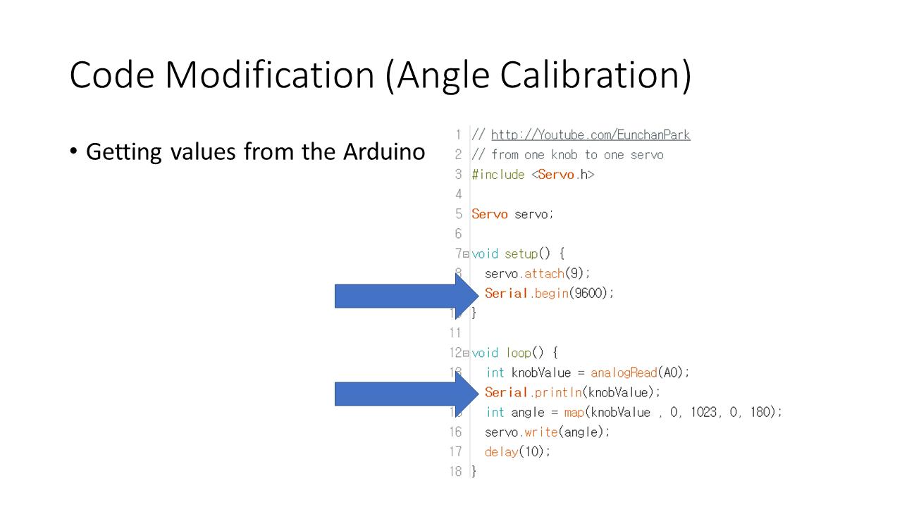Picture of Code Modification (Angle Calibration)