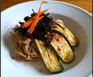 Peanut Sauce Soba Noodles With Roasted Zucchini and Wakame