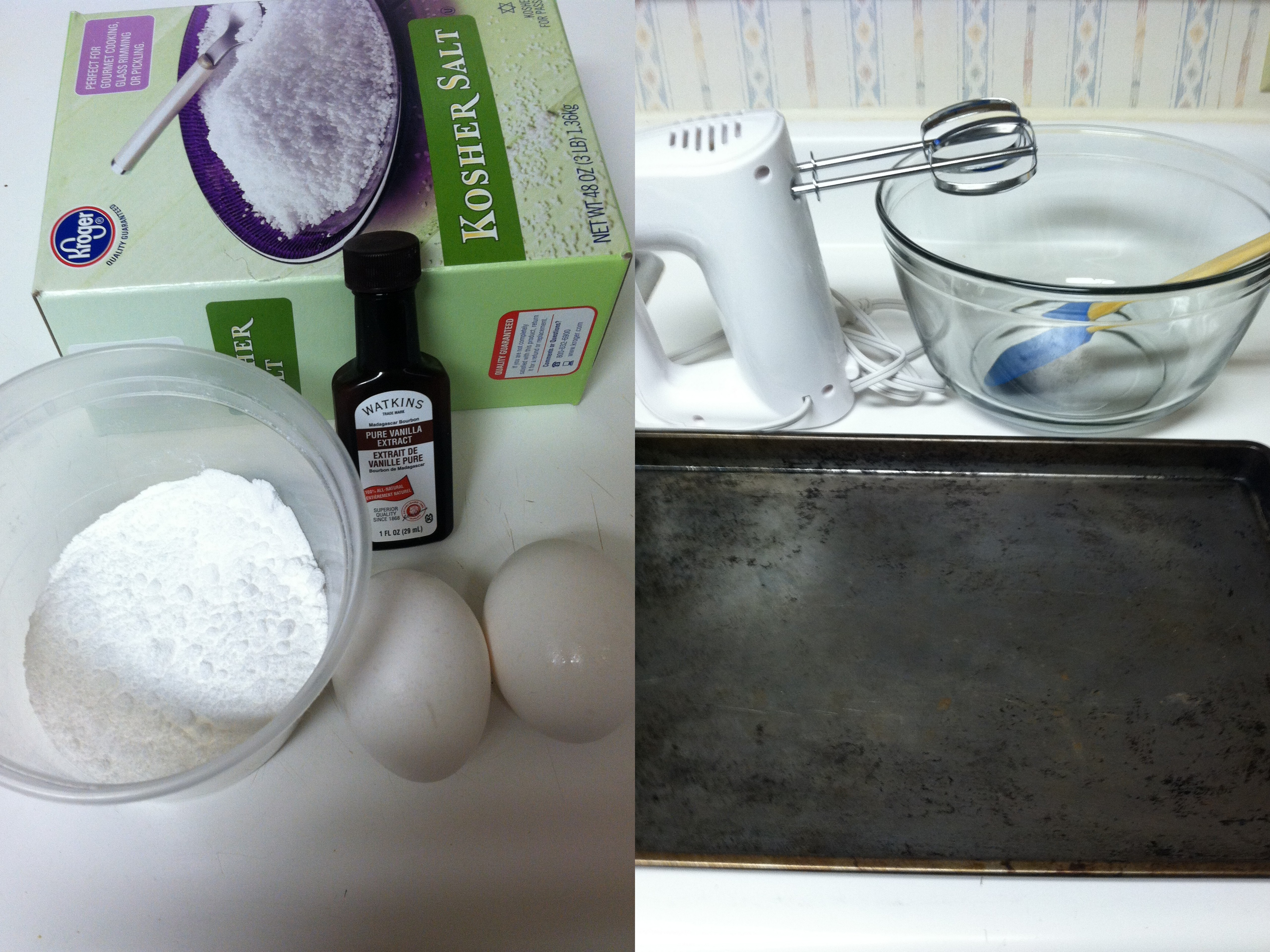 Picture of Ingredients and Materials Required to Make Meringue