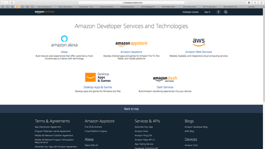 Sign Into Cloud9 and Amazon Developer Console.