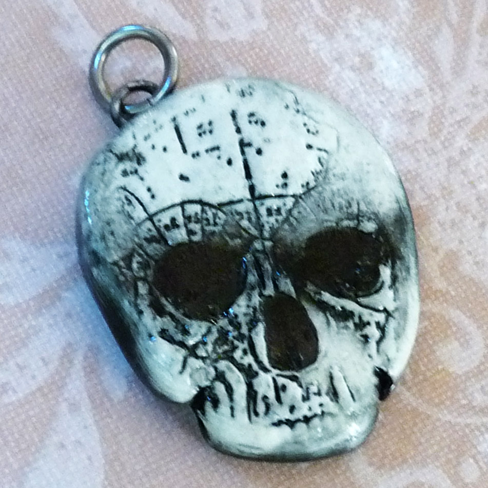 Picture of Stamped Clay Skull Pendant