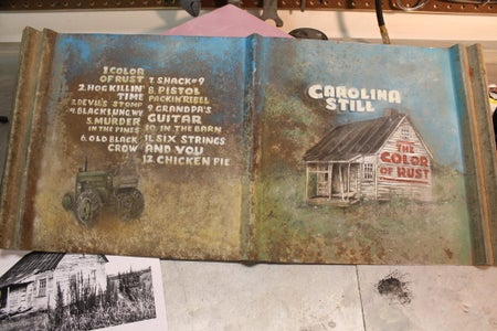 Paint an Album Cover on Tin From an Old Barn