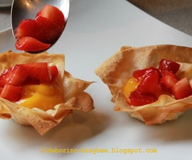 Fillo Pastry Baskets with Lemon Curd and Strawberries
