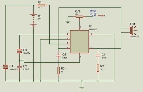 Circuit Diagram & TDA2822 Pin Configuration