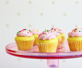 Mini Yellow Cupcakes with Jam Frosting