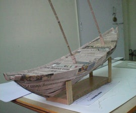 Model Ship Built From News papers
