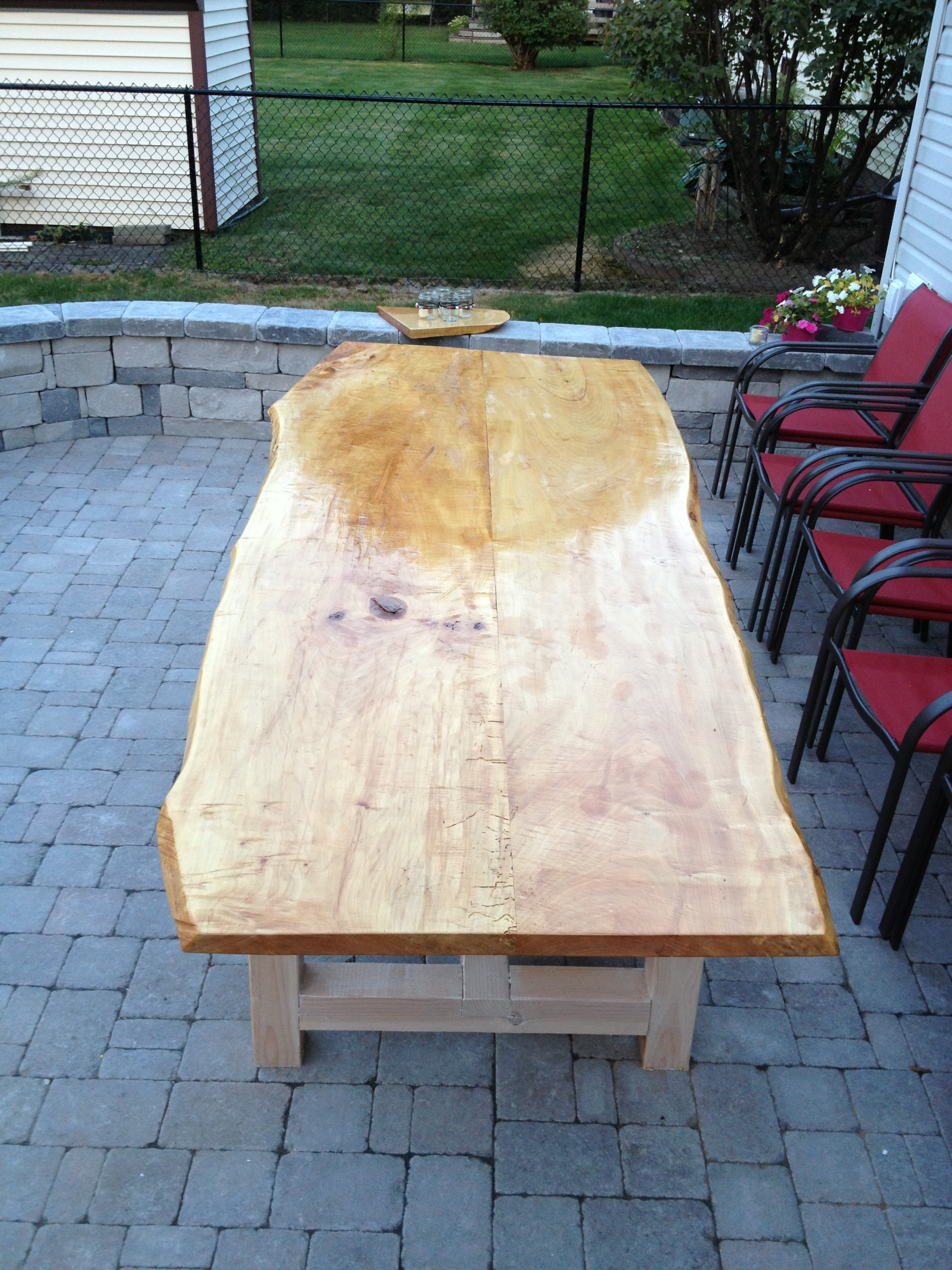 Picture of Live Edge Maple Slab Outdoor Table