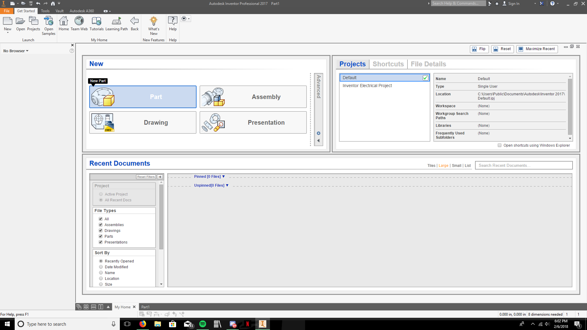 Picture of Open AutoDesk Inventor and Begin a New Part