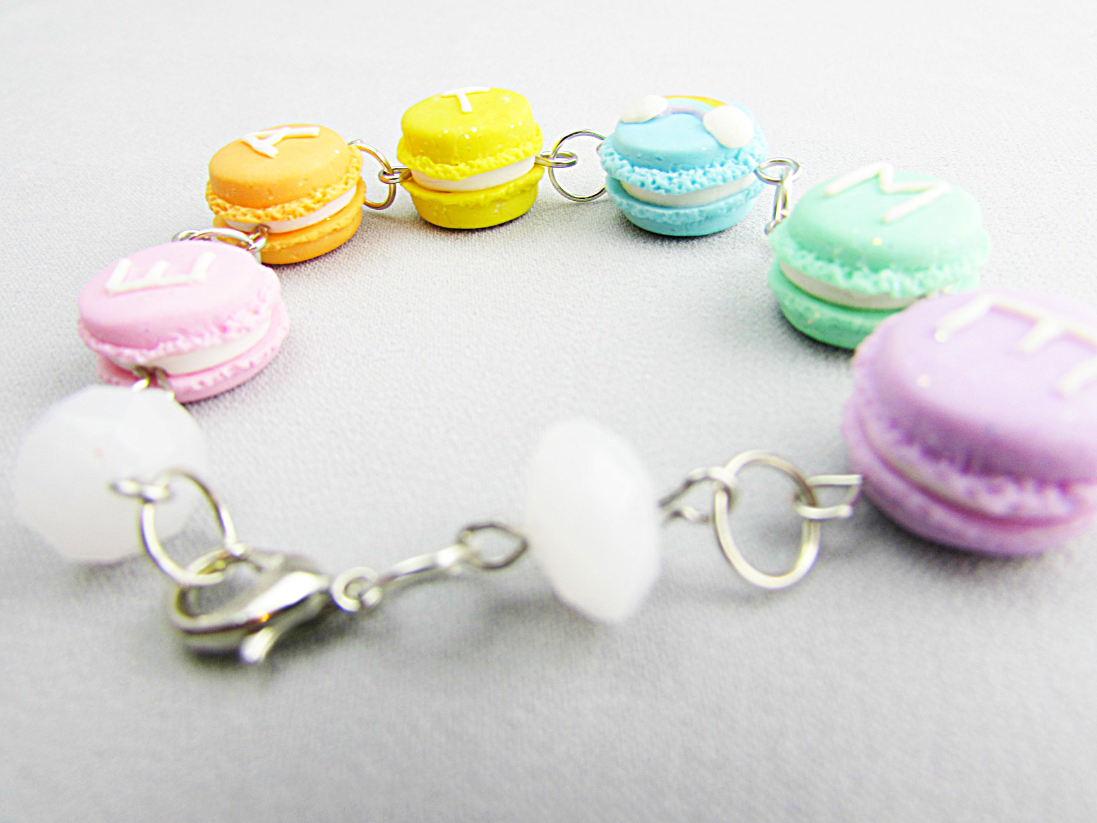 Picture of Rainbow Pastel Macaron Polymer Clay Bracelet