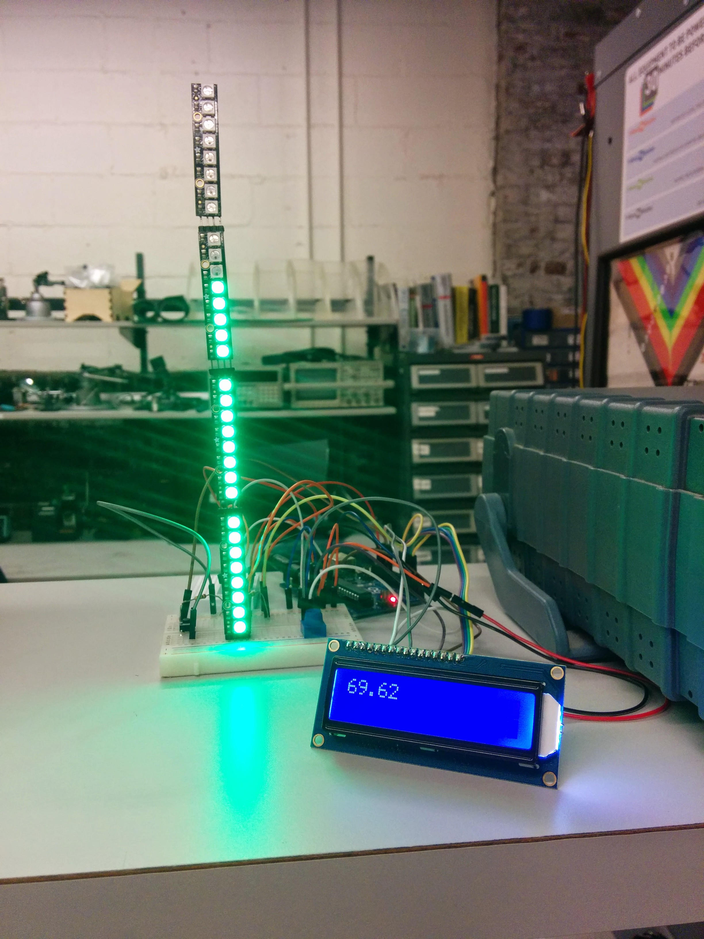 """Picture of Indoor Thermometer With Both LCD and """"Analog"""" Readout With NeoPixels"""