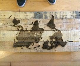 Extra Pallet Wood Laser Engraved Map