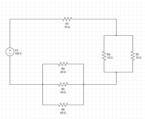 Picture of Solving a Simple Circuit Diagram With a Single Voltage Source and Resistors in Series and Parallel