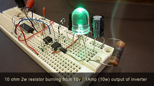 10 Ohm / 2W Resistor Burning From 10Volts 1Amp Output (10W) of Inverter Circuit